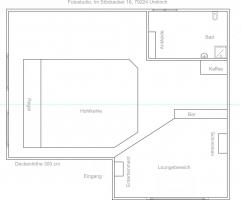 Der Grundriss. Die Hohlkehle ist 3 Meter hoch, 5 Meter breit und 5 Meter tief.